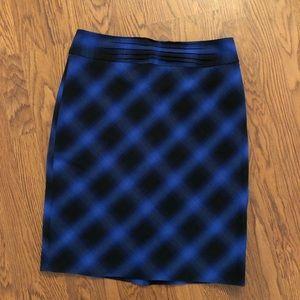 The Limited | Blue & Black Plaid Pencil Skirt